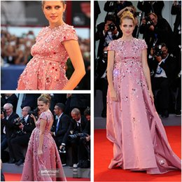 Wholesale BlingBling Teresa Palmer Maternity Celebrity Dresses Pink Evening Gowns Beaded Rhinestone Crystal Pregnant Party Gowns rd Venice Film