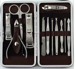 Descuento de acero engastado cutícula 12 en 1 sistema Herramientas del clavo Mini Kit de manicura profesional cutícula del acero inoxidable Set manicura de la pinza