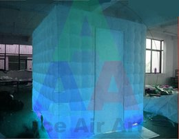 Wholesale new custom hot sale Excellent top quality changing colorful lighting inflatable Square Tent For camping with Built In Air Blower