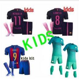 Wholesale 2016 Barcelona Iniesta kIDS Soccer Jerseys KIDS Lionel Messi Uniform Neymar JR de futbol Suarez Shirts Maillot kit Jerseys Free