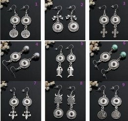 Wholesale Silver Cross Earrings Pendant - 12MM NOOSA cross wings crown owl wisdom tree pendant earrings Ms. Valentine Round silver earrings Christmas jewelry E99