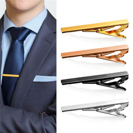 4 Pieces Set New 18K Gold Plated Platinum Plated Rose Gold  Black Mens Hinged Tie Clip Tacks Jewelry