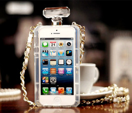 Wholesale Luxury Perfume Bottle Case Soft Rubber TPU Metal Rope Back Case Cover For iPhone s s plus plus Samsung S6 S6 edge S7 S7 edge