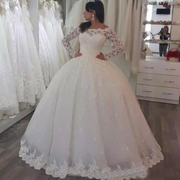 2017 Bateau Wedding Dresses Long Sleeves With Lace Applique Wedding Gowns A-Line Custom Made Back Zipper Floor-Lenght Elegant Bridal Gowns