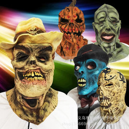 Pumpkin Skull Face Masks Blue Face Black Hat Mask Halloween Show Full Head Show Party Scary Latex