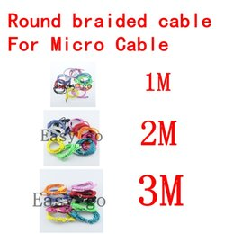 New 3ft 6ft 10ft Braided round Micro USB Date Sync Charging Cable for Samsung Galaxy S4 I9500 HTC LG Sony wholesale