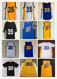 Wholesale 2016 New KD Basketball Jersey Blue White Yellow Black Uniform Stitched Name and Number Summer Hot Sale Shirts for Men
