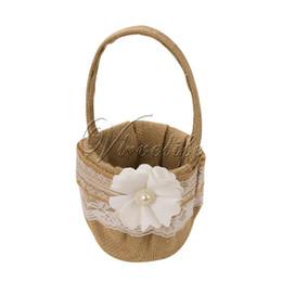 Panier de fleurs de mariage en tulle fleurs avec des fleurs rubans de dentelle perles arc de mariage baske pour nuptiale décorations de mariage rustique à partir de arcs décorations mariage fabricateur