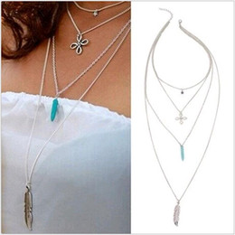 Multilayer Vintage Retro Turquoise Ivory Tassel Chinese Knot Star Metal Feather Layers Necklace Strands Strings for Women Sale