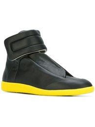 Wholesale Modern urban style germany brand maison martin margiela hook loop shoes black genuine leather mens hi top sneakers
