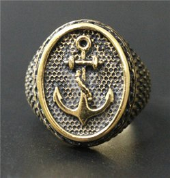 Size 7-14 Mens Golden Anchor Ring 316L Stainless Steel Free Shipping Top Quality Anchor Iron Chains Ring