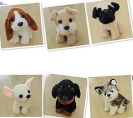 Купить Онлайн Свободный материал собаки-8styles 19см собачьих PlushToys Симпатичные сидит собака Фаршированные куклы плюша подарок игрушки для животных kidsbaby Картонные игрушки плюша EMS свободный корабль