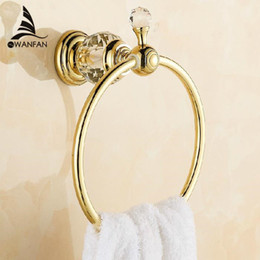 Wholesale Luxury Crystal Brass Gold Towel Ring Towel Holder Towel Bar Bathroom Accessories HK k