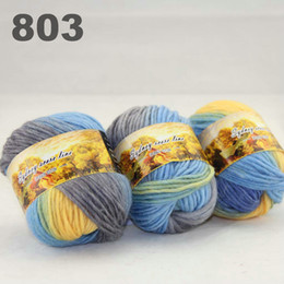 colorful hand-knitted wool line segment dyed coarse lines fancy knitting hats scarves thick line Grey Sky Blue Yellow 522-803