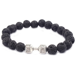 Mens Gift Wholesale New Arrival Alloy Metal Barbell & Lava Rock Stone Beads Fitness Fashion Dumbbell Bracelets