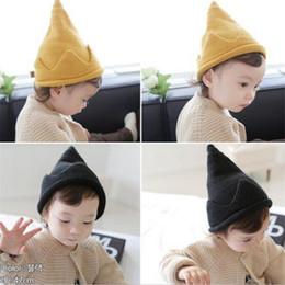 Wholesale Crochet Crowns For Babies - 5 Color Winter Crown Design Baby Hat Infant Toddler Wool+Fleece Cap Soft Crochet Hat For Children 0-5T Girl Boy Christmas Gift