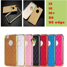 Wholesale Metal Pu leather cases for iphone in Aluminium Alloy metal frame leather back covers for iphone plus samsung s6 s6edge