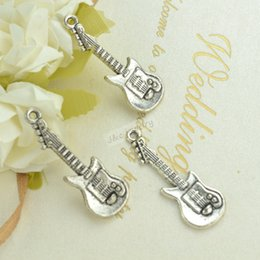 Wholesale guitar charms vintage silver plated zinc alloy pendants for diy jewelry findings mm