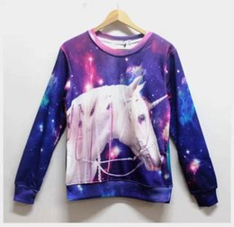 Galaxy Casual Animal Unicorn Printed Harajuku Sweatshirt Unicorn Hoodies Street Sports Costumes 3D Sweatshirt 3D Pullover Free Shipping