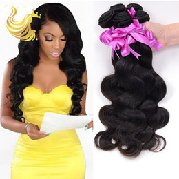 Hot Human Hair Weaves Body Waves Natural Black Unprocessed Vigin Brazilian Hair Weave Bundles Hair Wefts Full Head Hair Extensions