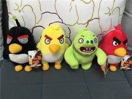 Wholesale Stuffed Black Pig - Angry Birds Movies Plush Toys Sets Yellow Red Black Bird Green Skin Pigs Plush Toys Cartoon Stuffed Animalsl For Children Kids 20cm