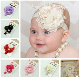 Multicolor Baby Rose Flower Hair Accessories Baby Lace Hairbands Kids Lace Headdress Children Pearl Flower Hairbands