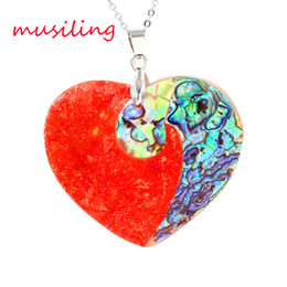 Wholesale Heart Water Drop Rhombus Natural Abalone Shell Huang Bei Red Coral Splicing Pendant Accessories European Trendy Mens Jewelry gifts