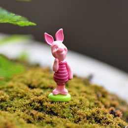 New cartoon pink artificial pigs animals fairy garden miniatures gnomes moss terrariums resin craft for diy home decorations accessories