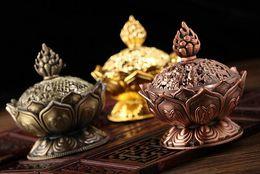 Wholesale Fashion Hot cm Height Tibetan Lotus Incense Burner Alloy Bronze Mini Incense Burner Metal Craft Home Decor Colors