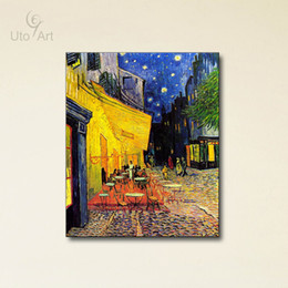 Wholesale Cheap Classical Wall Art Painting Van Gogh The Cafe Terrace On Place Du Forum Arles At Night Home Decor Painting Digital Picture