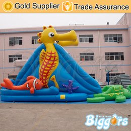 Wholesale Sea Horse Slide Theme Big Inflatable Park Slide With Water Pool For Summer