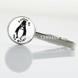 Wholesale Vintage father of the bride Art Picture Tie Clips Novelty Interesting penguin Tie Clip decoration male Classic tie pin T