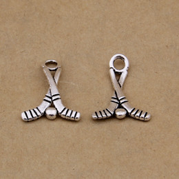 Wholesale Top Quality Sport Alloy Charms Hockey Stick Vintage Jewelry Charms AAC1222