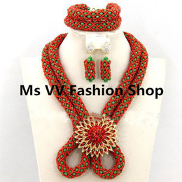 2018 champagen wedding jewelry sets necklaces Set Costume Nigerian Wedding African Jewelry Set Indian Bridal Necklace Set 2 layers red