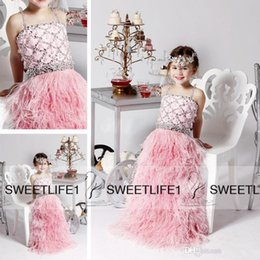Pink Feather Skirt Beaded Bodice A Line 2019 Hot Sale Girl's Pageant Dresses with Spaghetti Straps Sleeveless New Flower Girls' Dresses
