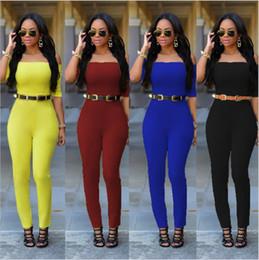 Wholesale Fashion Rompers Women Jumpsuit Combinaison Femme Bodysuit short Sleeve Off Shoulder Rompers Ladies Jumpsuit with belt