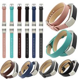 Promotion bracelet en cuir véritable Wholesale-High Quality Black Watchbands Luxe Double Tour Bracelet en cuir de bracelet en cuir véritable pour bracelet en fibre de poing Fitbit Alta 2016