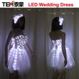 2017 vinaigrette LED Luminous Illuminated Glow Light Up Danse Femmes Lady Dress Costumes Vêtements Billowing Jupes Fête de mariage bon marché vinaigrette
