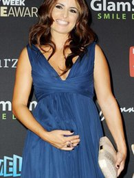 Wholesale Gorgeous Ada Nicodemou Navy Blue Maternity Evening Dresses V Neck A Line Chiffon Floor Length Long Formal Gowns