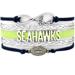 Wholesale Custom Hot Infinity Love Seahawks Football Bracelet Sports Wax Cords Wrap Braided Leather Bracelet For Football Fans Best Gift Drop Shipping