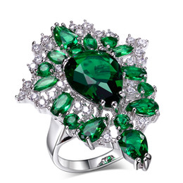 Unique Design and High Quality! Rhodium plate with 5 Colors Cubic Zirconia Stones Party Rings