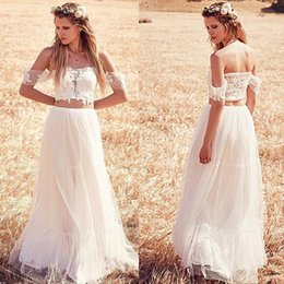 Wholesale Cheap High Top Shorts - Crop Top Two Pieces Wedding Dresses 2016 New Arrival Off Shoulder Beach Chiffon Wedding Dress Cheap Bridal Gown With Short Sleeves Plus Size