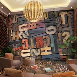Wholesale 3D Giant Wall Stickers Letter Number Wallpaper Mural for Home Living Room Hallway Decor Sofa Art Wall Decals Bar Background Poster Custom