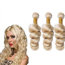 Brazilian Hair Weave Bundles 3 Pieces Lot Color #613 Blond Hair Loose Wave Curly Wefts Factory Price 8A Grade Human Hair Extensions