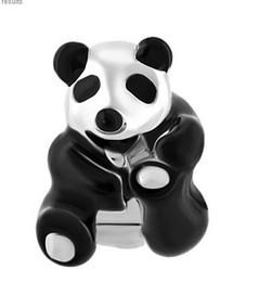 Rhodium Silver Color Plating WIth Black Enamel Chinese National treasure Panda Bead Charm Fit Pandora Charms Bracelet