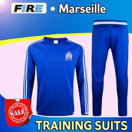 Wholesale 2016 Ligue Maillot de foot Marseille soccer training suits home blue black Survetement tracksuits Uniforms shirts long sleeve tights pants