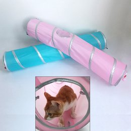 Wholesale Top Selling Foldable Pet Tunnel Cat Kitten Play Tunnel Tent Crinkle Toys for Fun Pet Cat Rabbit Supplies Pink Blue JJ0147