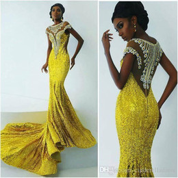 Wholesale 2016 Bling Yellow Mermaid African Dresses Evening Wear Sheer Neck Sexy Back Luxury Beaded Lace Applique Sequins Formal Prom Party Gowns