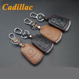 Wholesale For Cadillac SRX CTS ATS ATS L SLS XTS Car Keychain Genuine Leather Smart Car Key Fob Case Cover Chain Ring Auto Accessory