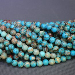 Jasper Natural Stone Beads Aqua Gemstone Emperor Imperial Jasper Beads Round Smooth Beaded Wholesale Price Women Necklace Making Jewelry